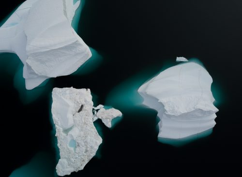 white ice on white surface