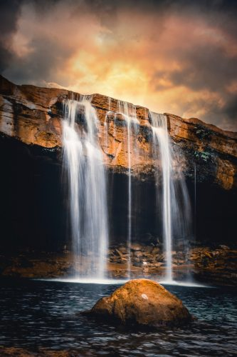 waterfalls in time-lapse photo