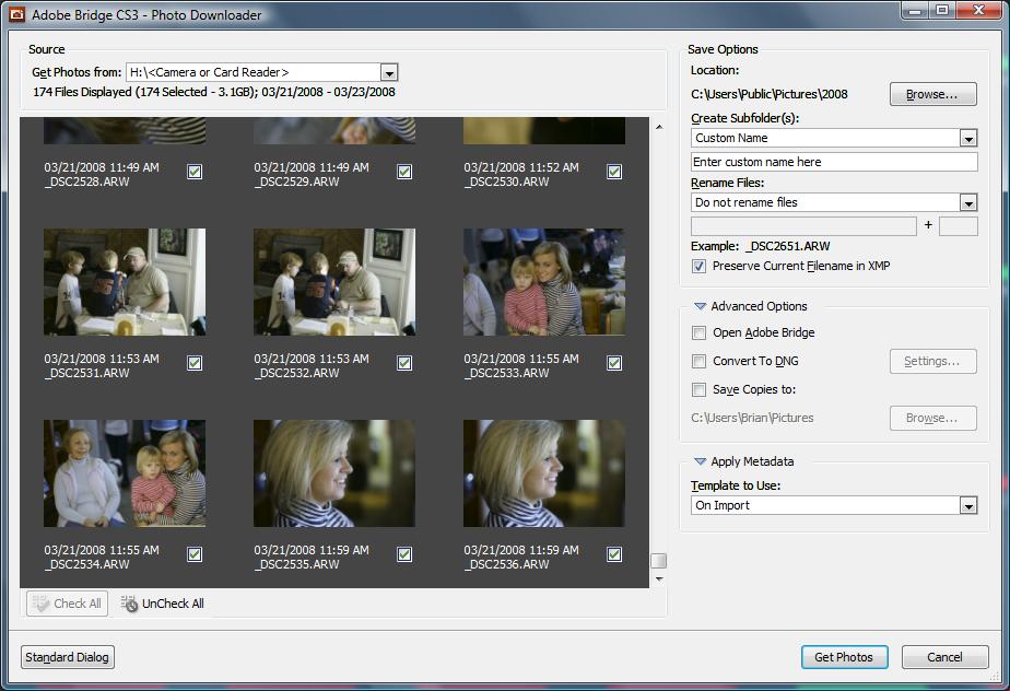 adobe photo downloader not detecting camera