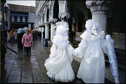 Photo by Sam Abell | Venice, Italy | 1995 | Easter Carnival participants in lavish costume.