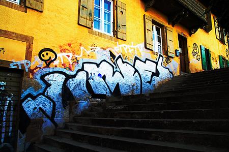 Orange Wall Graffiti