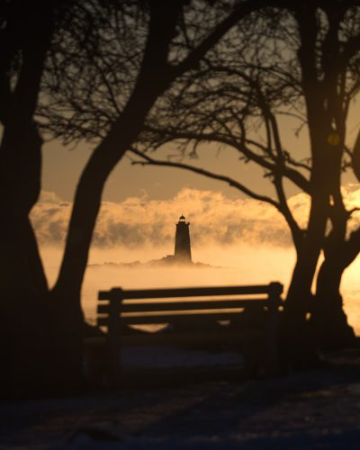 silhouette of trees, bench, and lighthouse